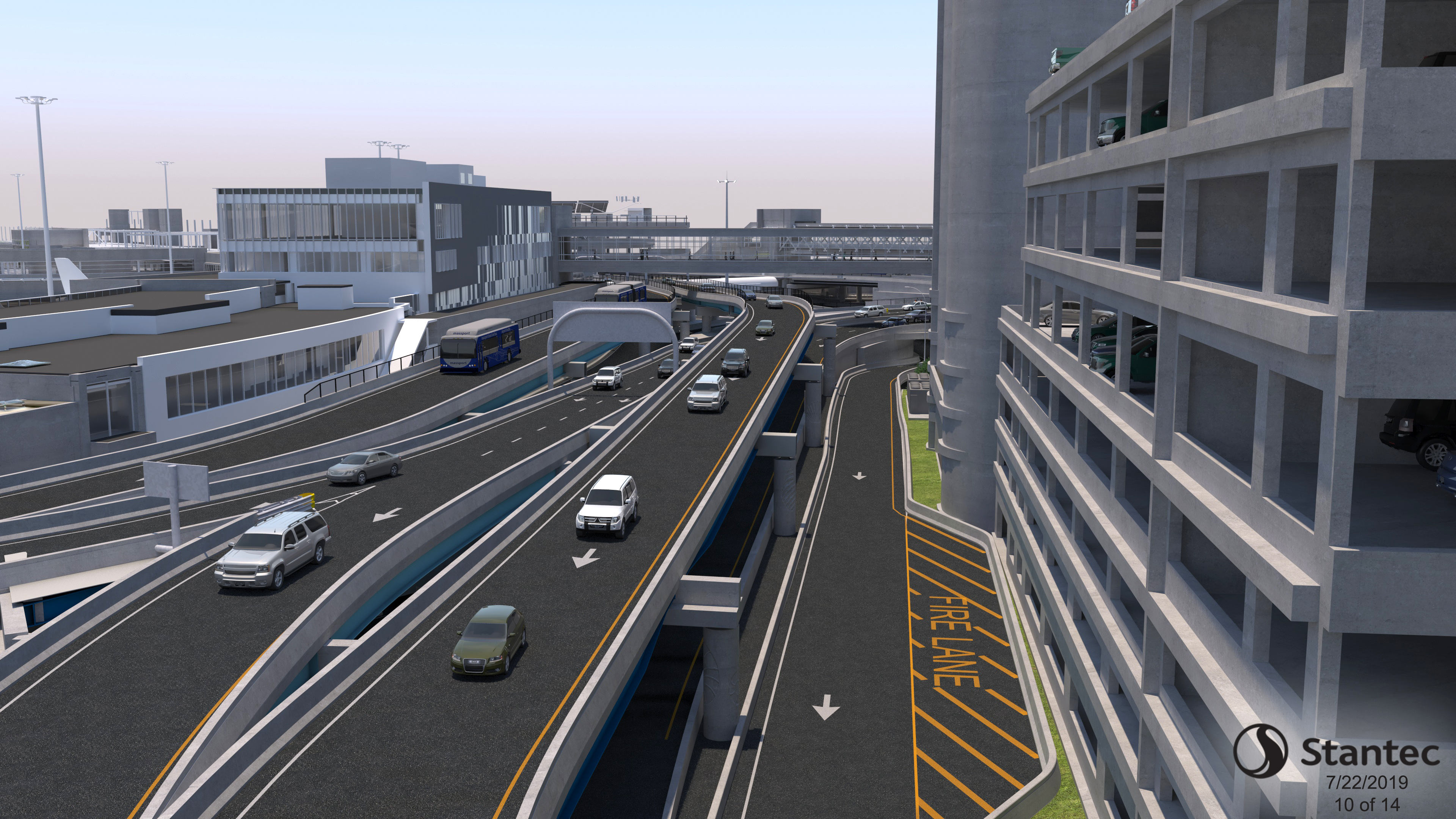 Roadway Rendering Looking Back to Terminal A