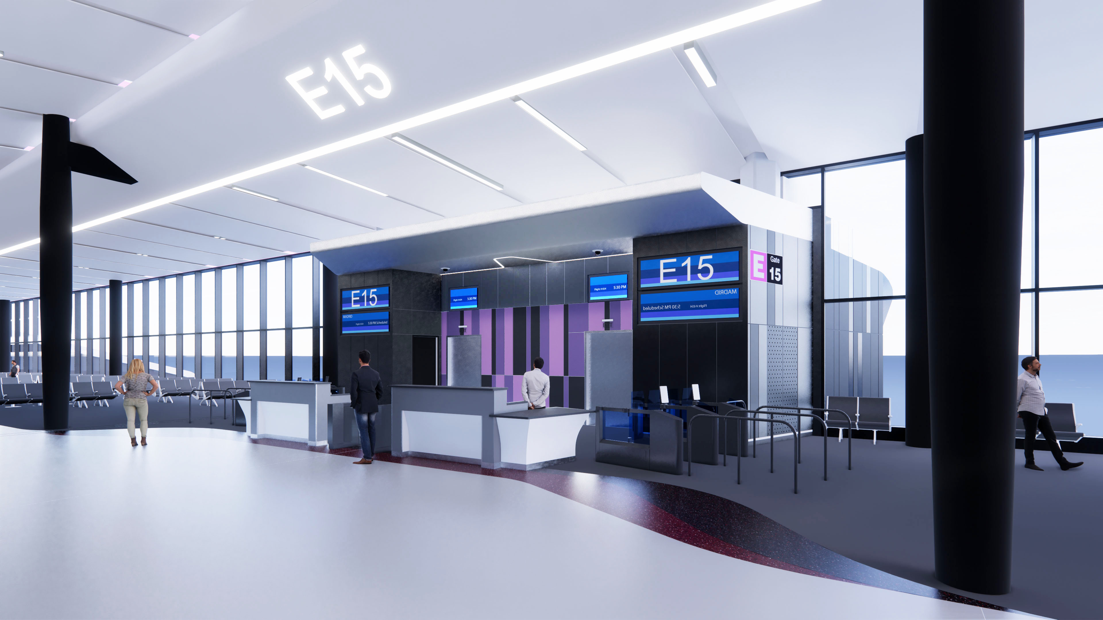 Terminal E Holdroom Rendering