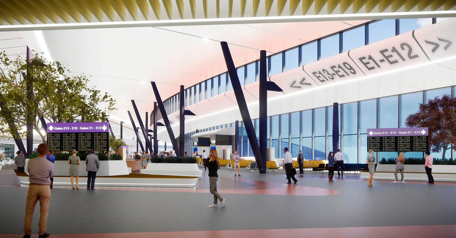 Terminal E Post-Security Rendering